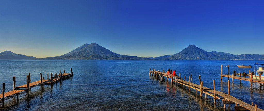view from San Pedro la Laguna docks in Lake Atitlan Guatemala