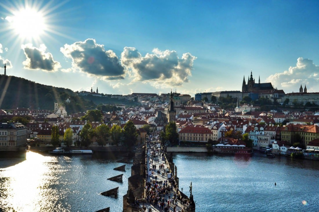 Prague Caste and Charles bridge sunny day in prague