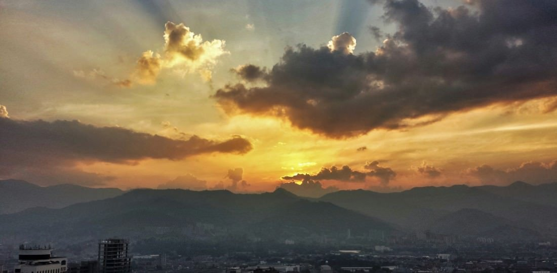 sunset in Medellin Colombia