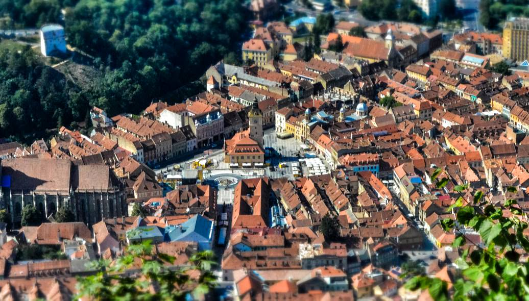 A view of Brasov, Romania from Tampa Mountain