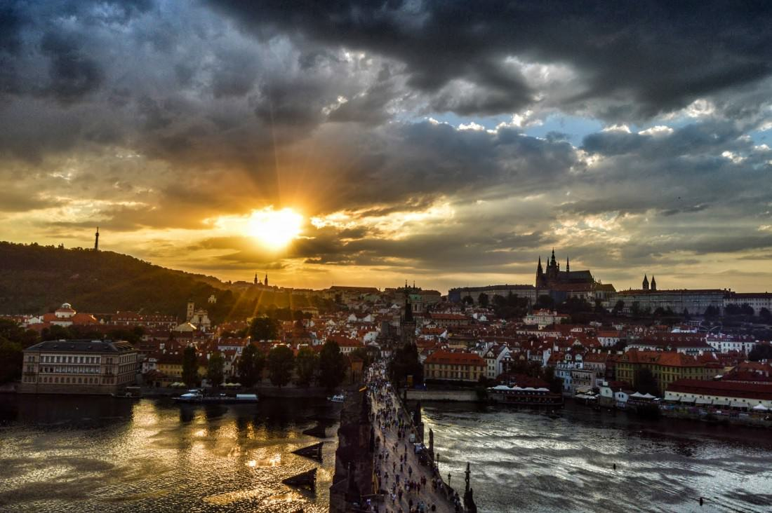 Prague Castle and Charles Bridge in Prague sunset