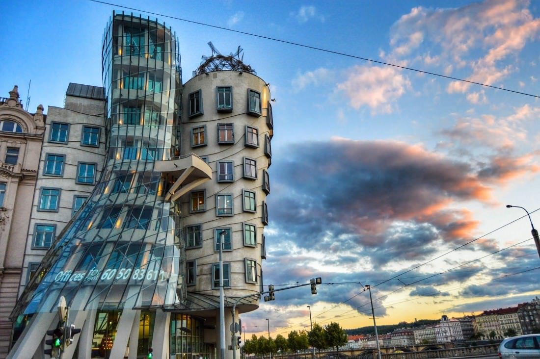 dancing house prague sunset