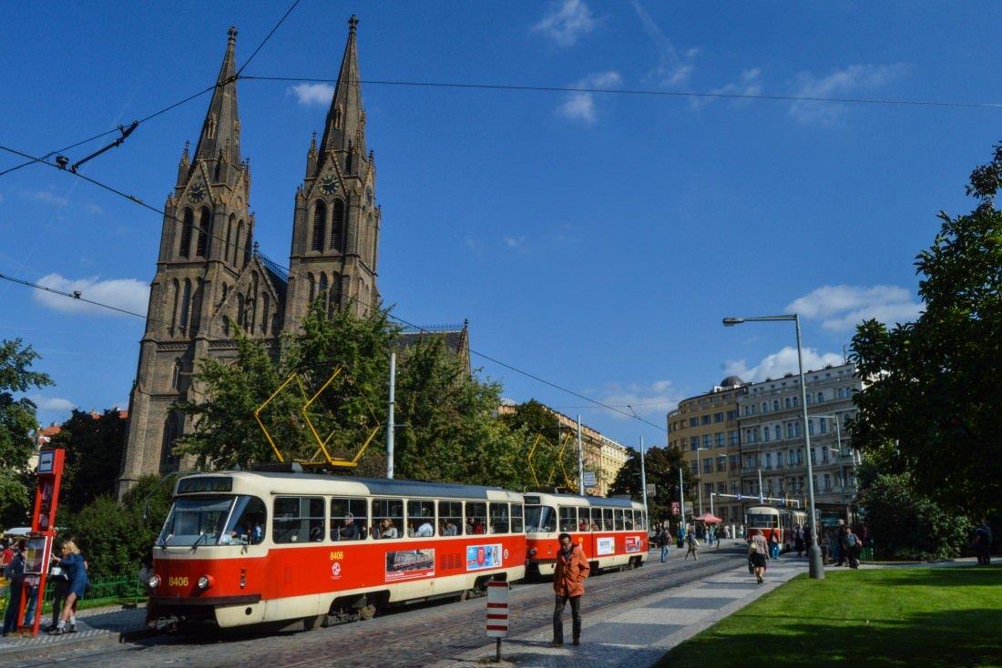 A Tram Passes the Church of Saint Ludmila