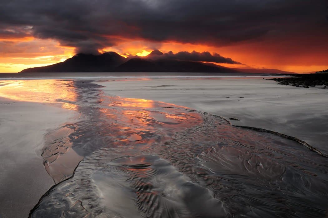 Sunset over Rum, Bay of Laig, Isle of Eigg - Karen Thorburn