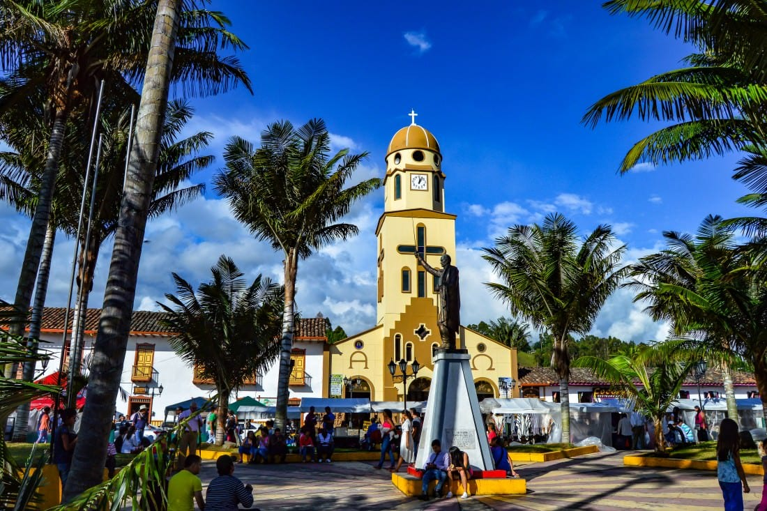 town square in salento colombia