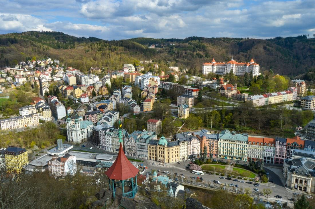 view of Karlovy Vary, Czech Republic from above