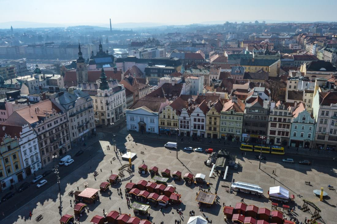 Plezn town square, day trips from Prague