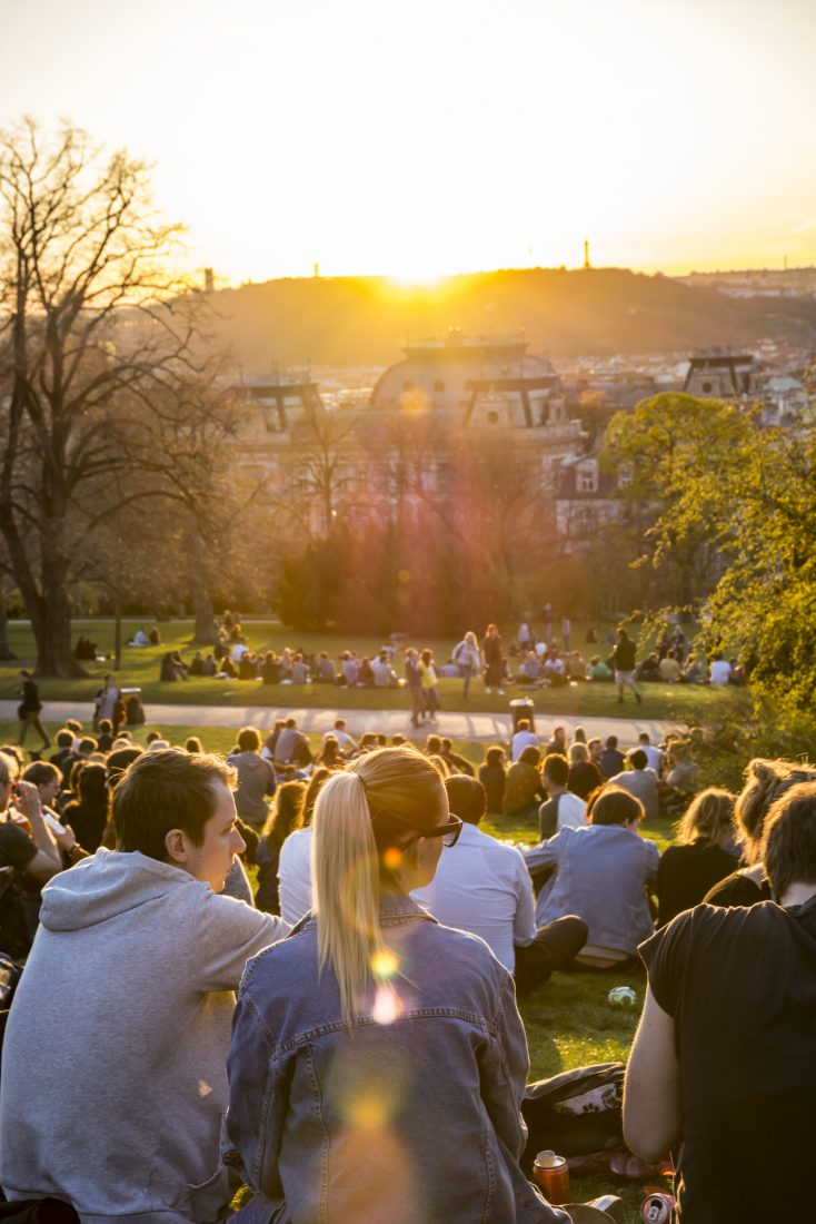sunset in prague's Riegrovy Sady park in Vinohrady