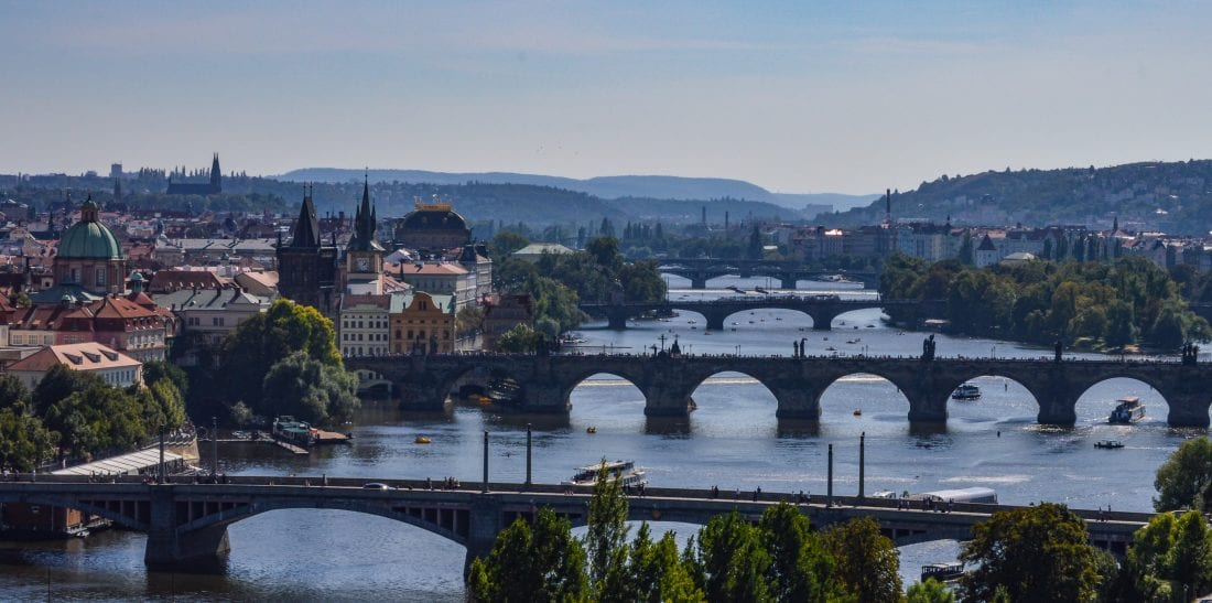 View of the Valtava River from Letna Park in Prague