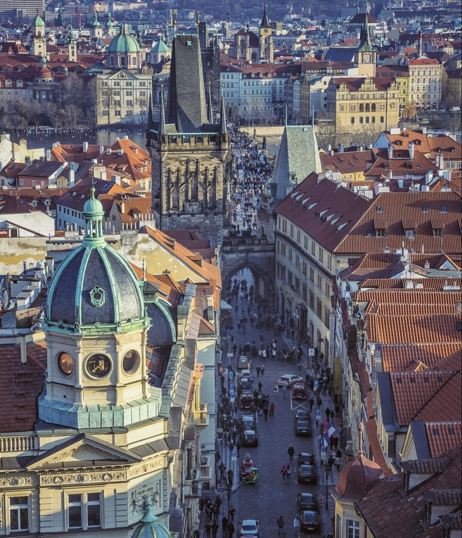 View f the charles bridge and old town from malastrana in Prague