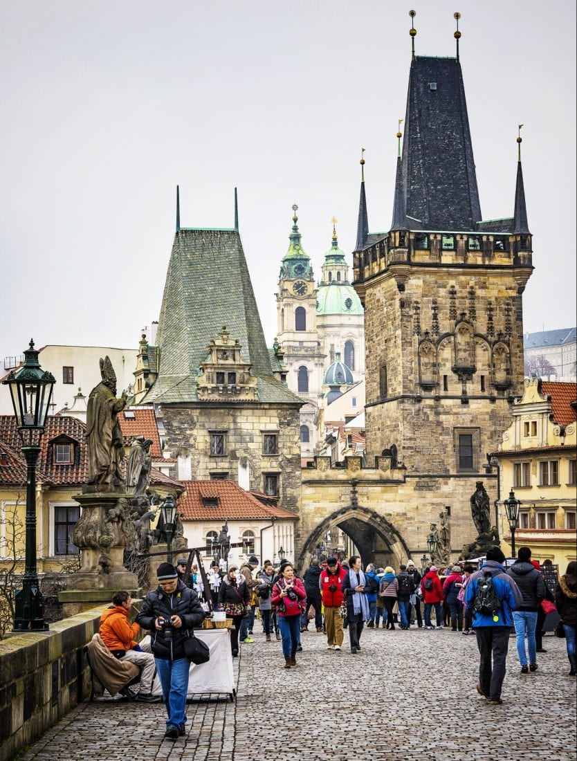 charles bridge in prague during winter