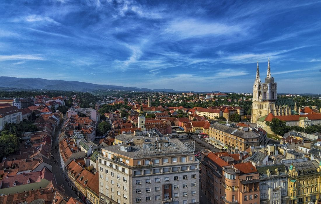 Old Town in Zagreb from above