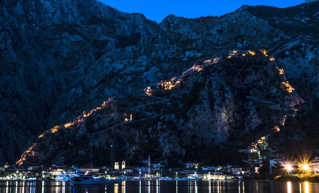 The walls of Kotor at night