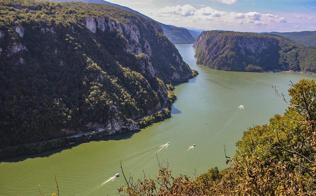 view from ciucaru mic peak iron gate natural park romania
