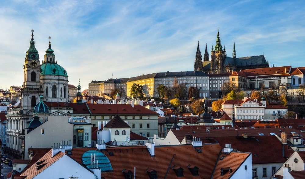 a view of Prague Castle from the west Charles Bridge Tower