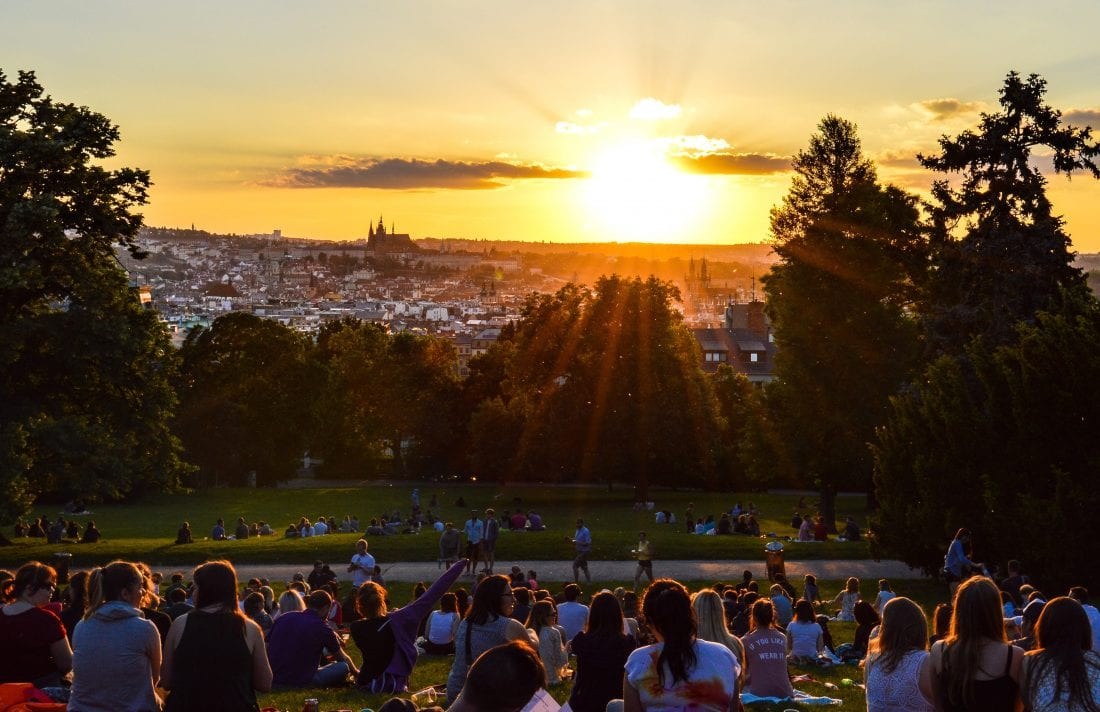 A sunset in Riegrovy Sady should be on on the to do list of every first time visitors to Prague