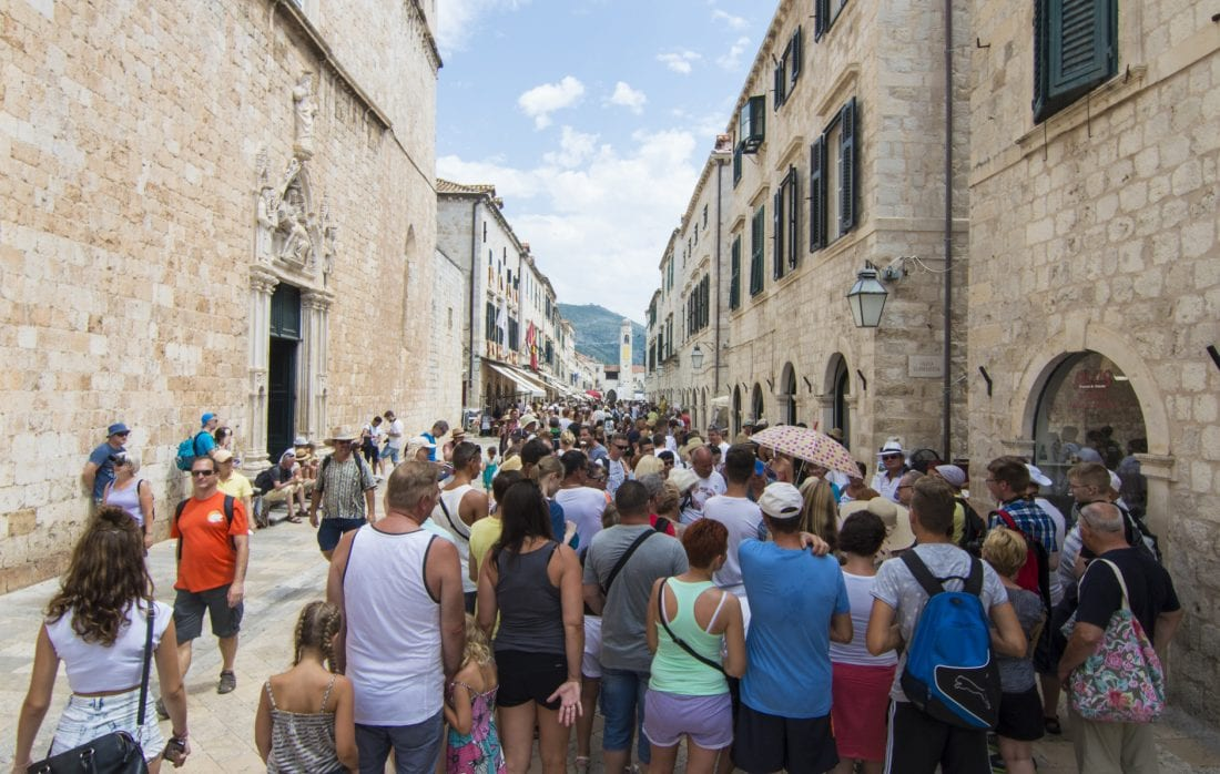 Crwds of tourists in Dubrovnik during high season