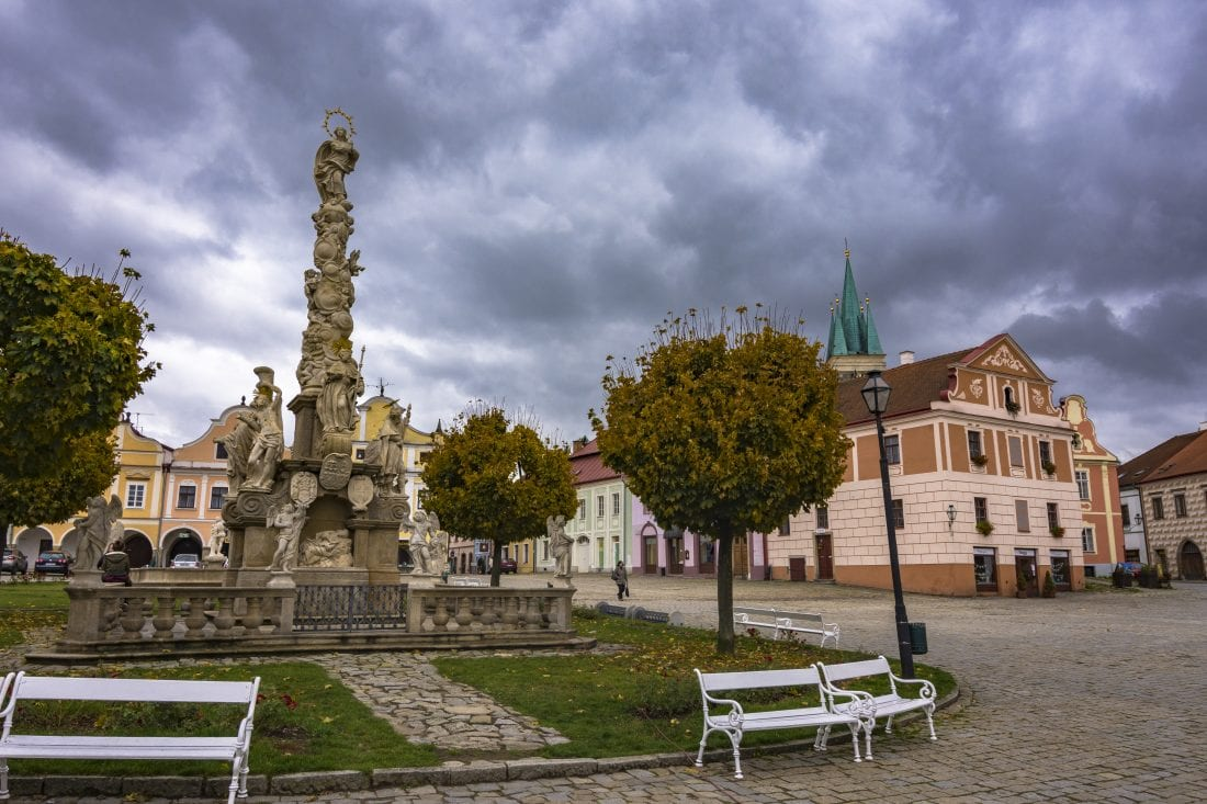 plague column in Telc town square