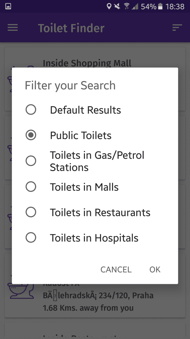 Finding a restroom as a traveler