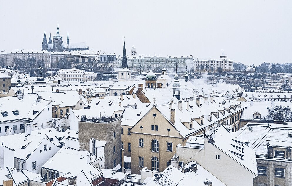 a snow day in Prague's Old Town