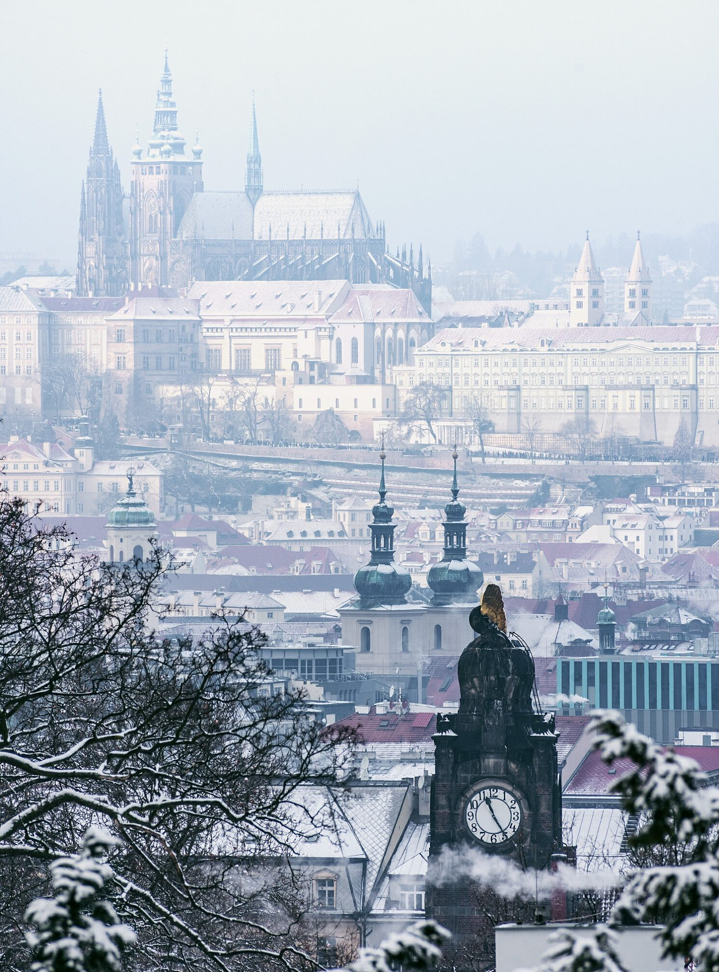 Beautiful cityscapes a snow day in prague just a pack for Best location to stay in prague