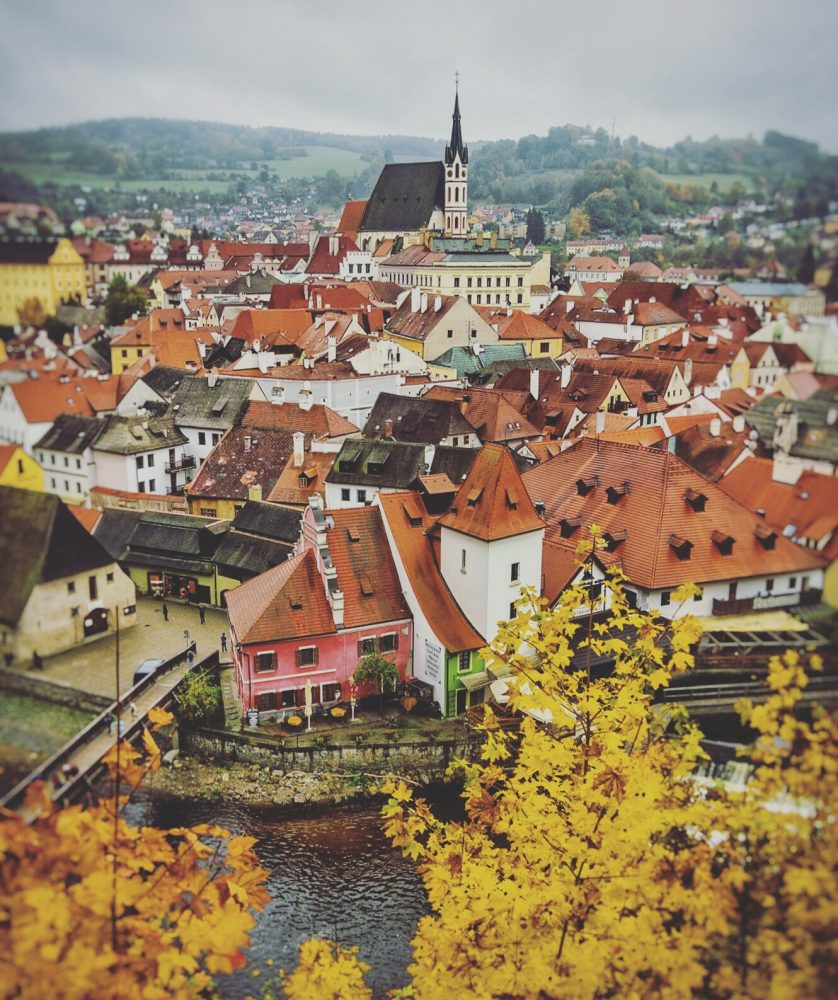 Vies of Old Town Cesky Krumlov in the fall