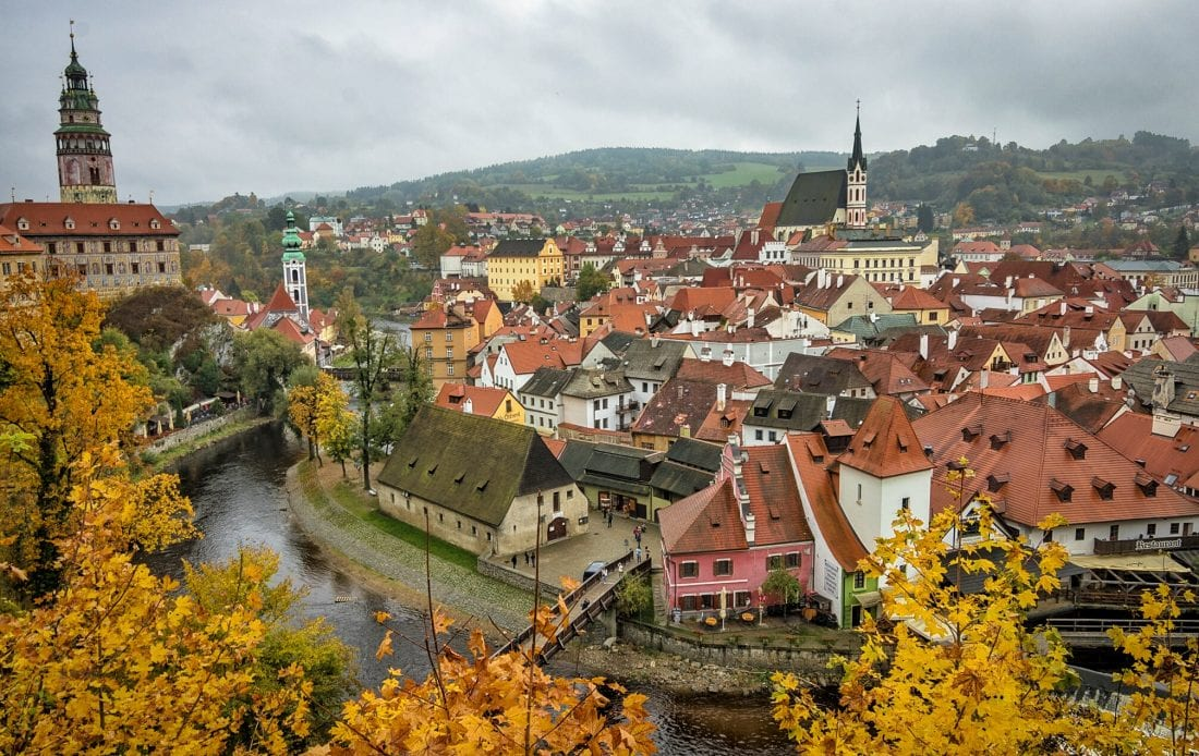Cesky Krumlov in the fall is a great day trip from Prague