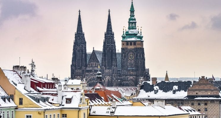 A snow day in Prague