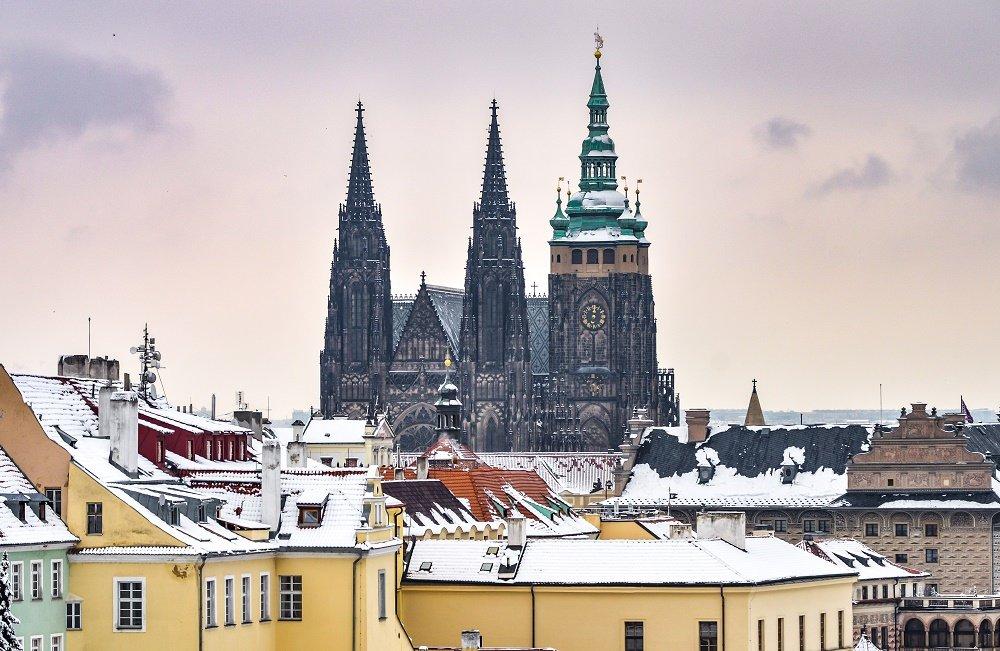 A snow day in Prague