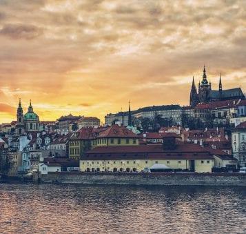 sunset over Mala Strana and Prague Castle in Prague