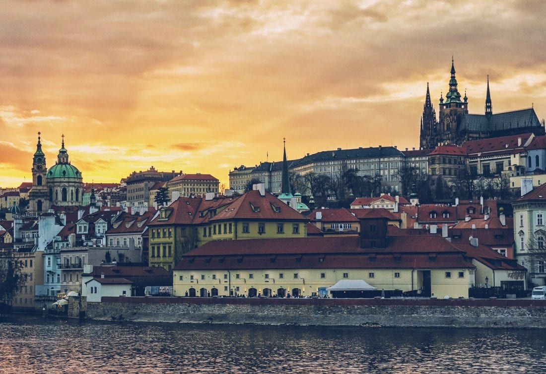 sunset over Mala Strana and Prague Castle in Prague