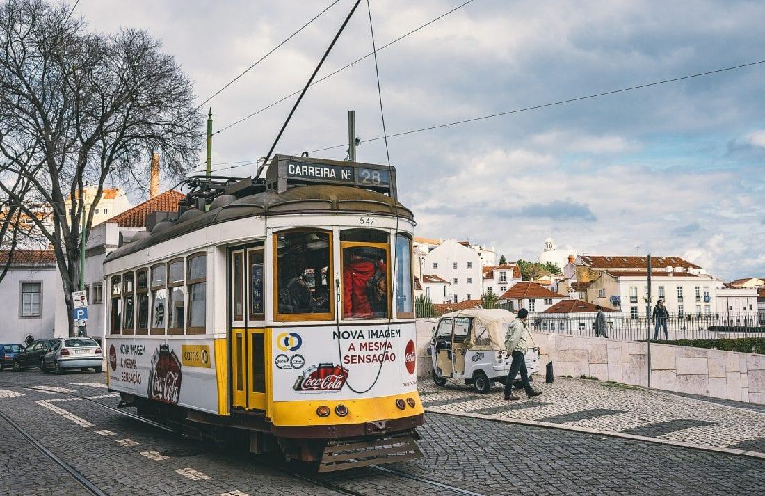 the 28 tram in Lisbon