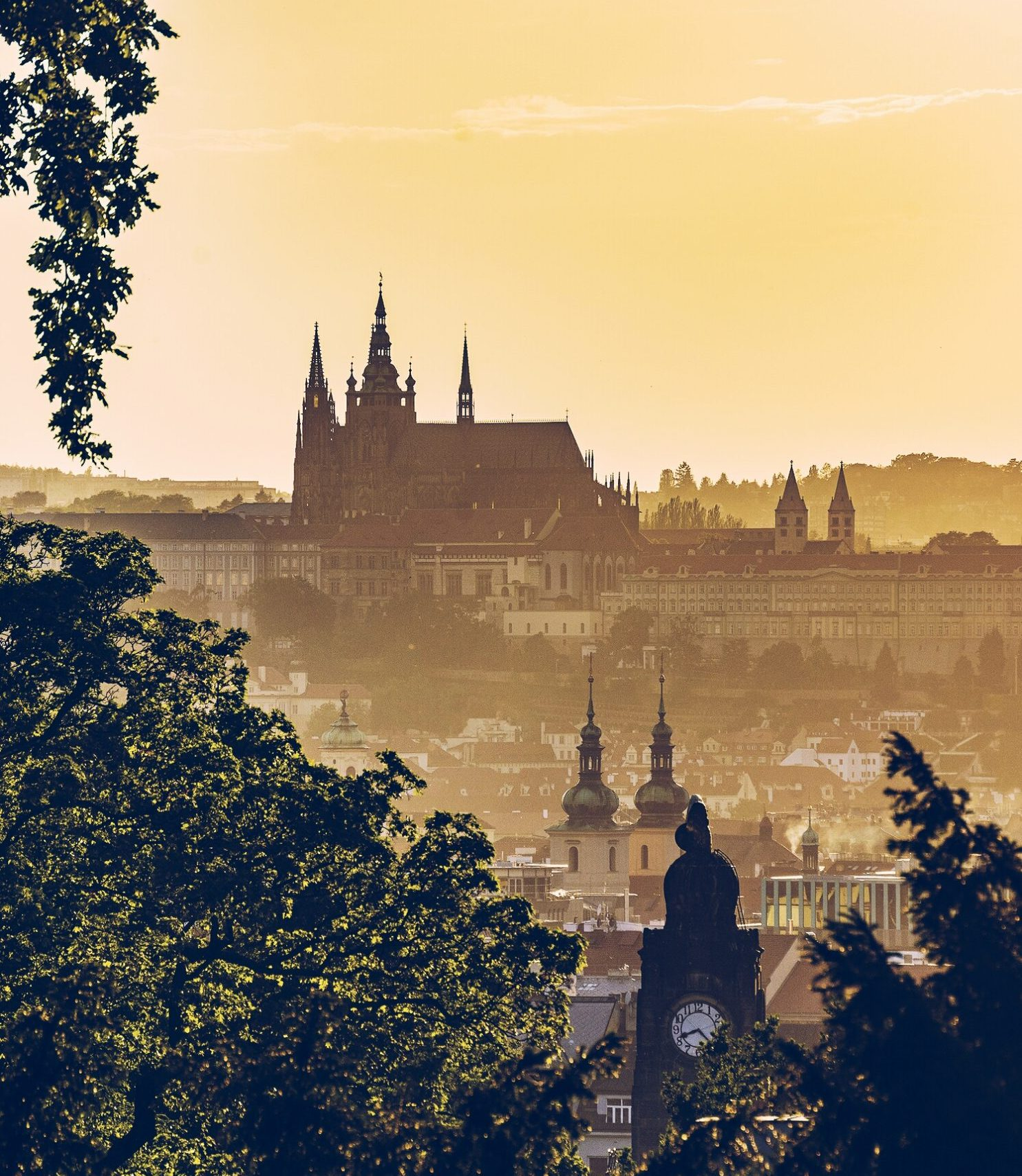 golden hour sunset over Prague