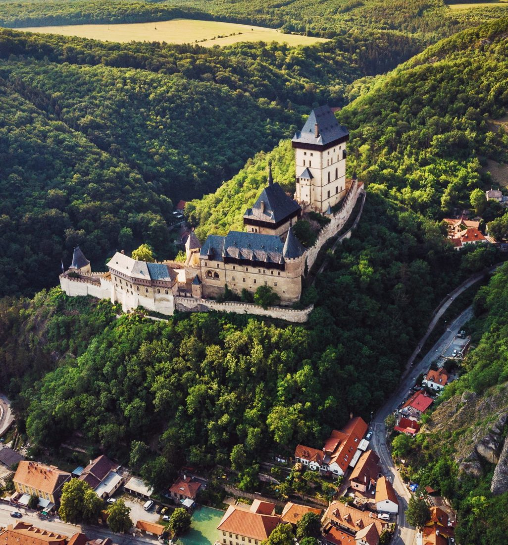 day trips from prague - karlstejn castle drone view