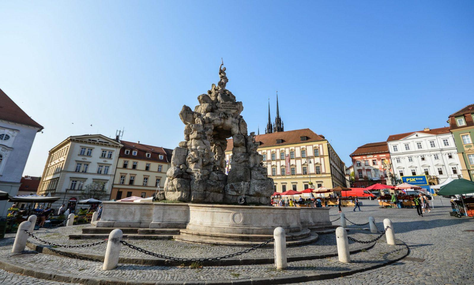 Baroque Fountain in Brno's Zelny Trh Square
