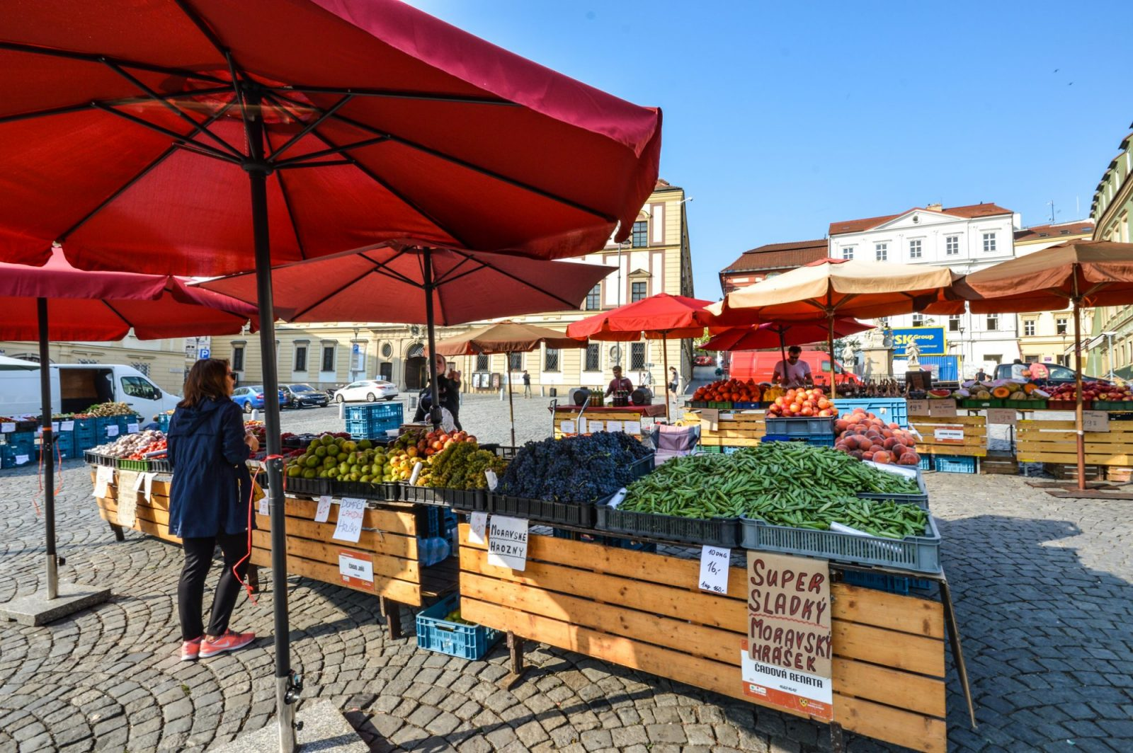 Stalls at the Cabbage Market in Brno