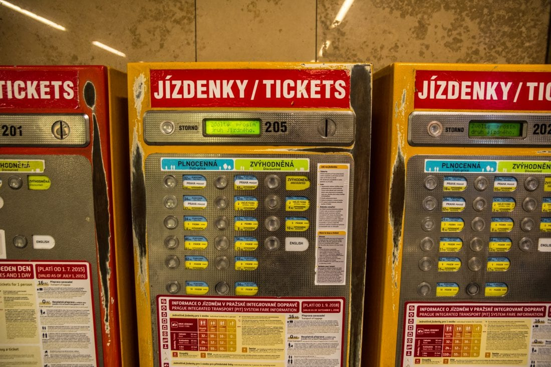 how to use public transport in prague - ticket vending machines in metro