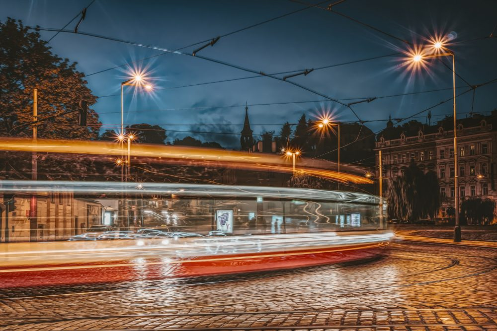 Prague Tram at Night