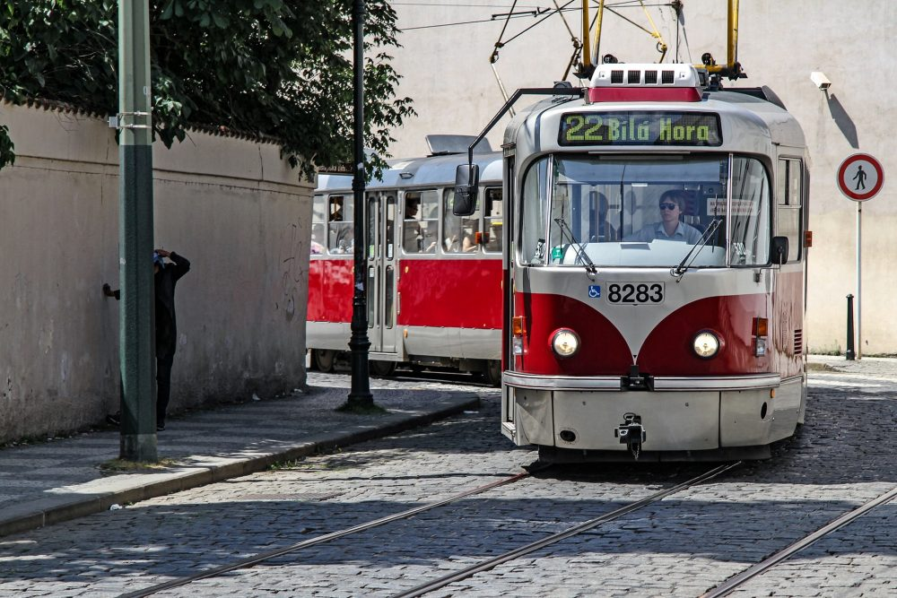 picture of a tram turning a corner in Prague - Tram Number 22