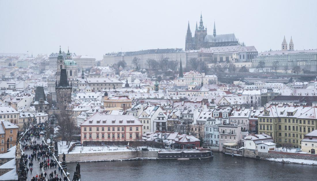 winter in Prague - snow over Mala Strana and Prague castle