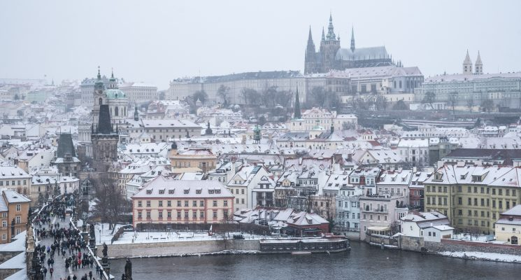 winter in Prague - snow over Mala Strana and Prague castle
