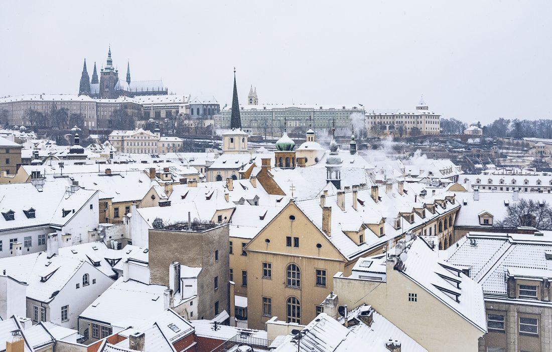 visiting prague castle - prague castle after some snow