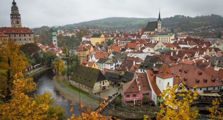 views of old town cesky krumlov in the autumn