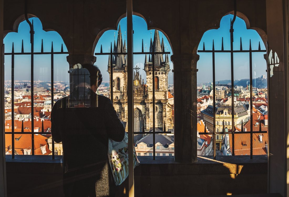 views of Old Town Square from top of Town Hall Tower - Prague