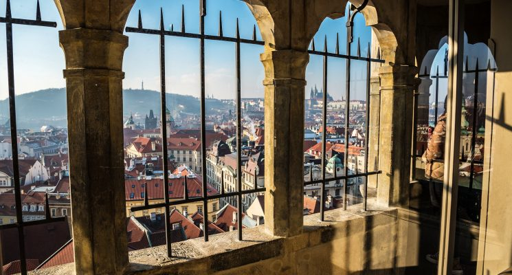 views from the top of the Town Hall Tower in Old Town Prague
