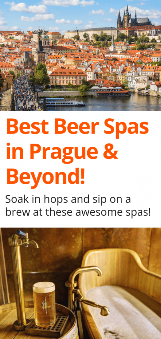 Best Beer Spas in Prague & the Czech Republic! Need a little rest and relaxation while visiting Prague? There's no better way than soaking in a hot tub of hops and sipping on a delicious beer at one of these amazing Prague beer spas! Plus, where to find beer spas in the Czech Republic beyond Prague! #prague #czechrepublic #europe #pilsen #plzen #beerspa #olomouc #karlovyvary #europeantravel #spa