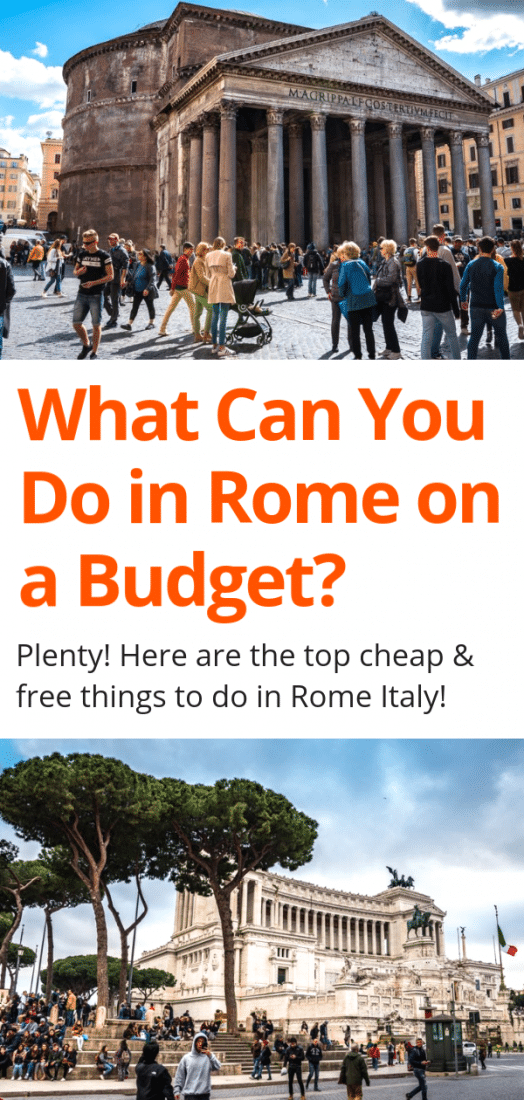 What can you really do in Rome on a budget? Surprisingly, a LOT! Here are the best things to do in Rome on a budget including visiting historic sites, exploring awesome neighborhoods, taking in breathtaking views, and more! Click to start planning your Rome Italy trip today! #rome #italy #europe #europeantravel #travel #budgettravel