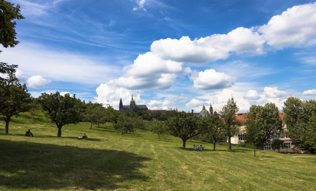 Views of Prague Castle on a spring day in Petrin Park, Prague