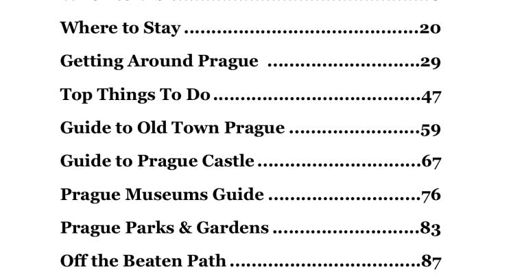 prague ebook contents