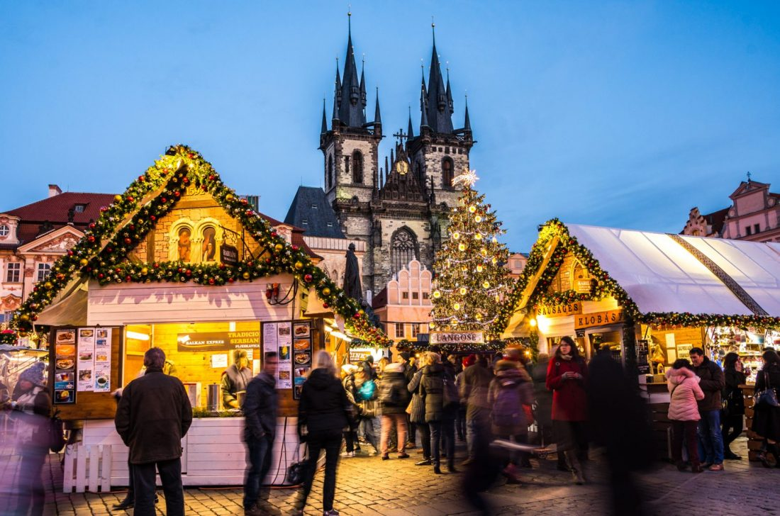 Prague Old Town Square Christmas Market during the twilight hours
